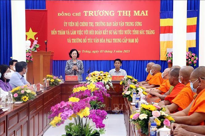Soc Trang: Truong Thi Mai rend visite aux bonzes - ảnh 1