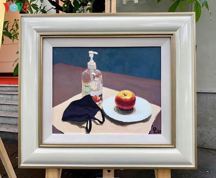 Ausstellung der Bilder der vietnamesischen Maler während der sozialen Distanzierung - ảnh 12