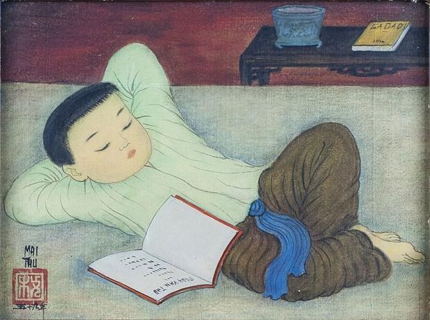 Ausstellung  der Bilder des Malers Mai Trung Thu in Frankreich - ảnh 1