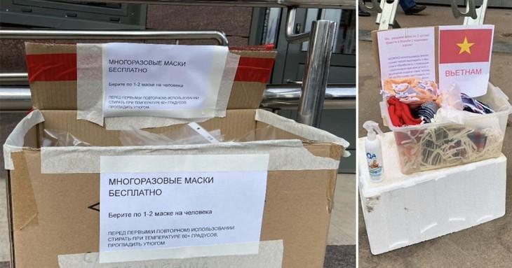 Вьетнамская диаспора в России раздает бесплатные маски местным жителям - ảnh 1