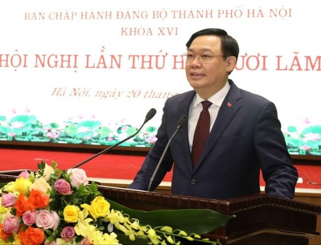 Секретарь парткома города Ханоя Выонг Динь Хюэ отметил необходимость обеспечения равномерности развития столицы - ảnh 1