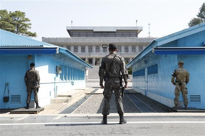 Menghapus senjata dan pos penjagaan di garis perbatasan antara dua bagian negeri Korea - ảnh 1