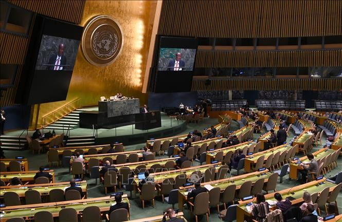 MU PBB mengesahkan resolusi mencegah senjata nuklir dan militerisasi angkasa luar - ảnh 1