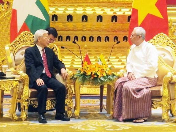 Pimpinan Partai Komunis dan Pemerintah Vietnam mengirim tilgram ucapan selamat sehubungan dengan peringatan HUT ke-45 Penggalangan hubungan diplomatik Vietnam-Myanmar - ảnh 1