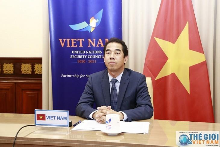 Vietnam menghadiri pembahasan terbuka secara daring dari DK PBB dengan tema Pandemi dan Keamanan - ảnh 1