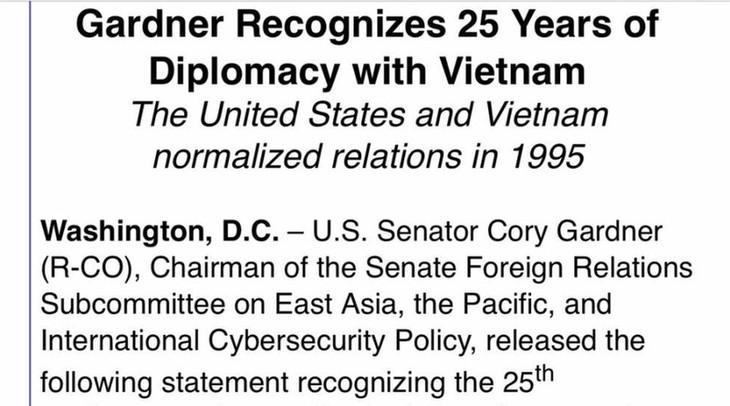Senator AS mengeluarkan pernyataan yang mencatat 25 tahun normalisasi hubungan Vietnam – AS - ảnh 1