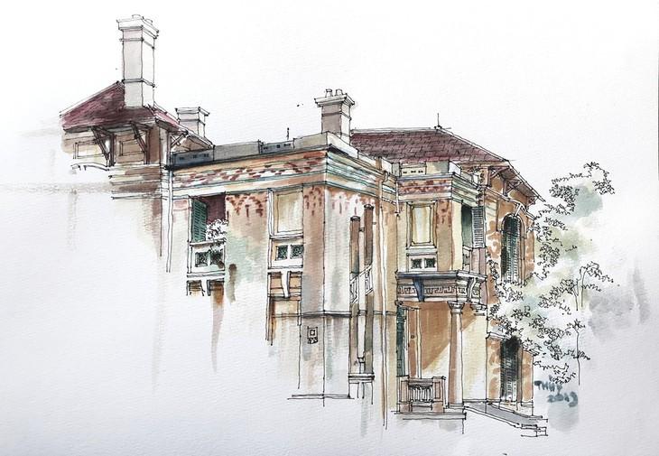 Die architektonische Schönheit der alten Villa, wo sich die Rundfunkstation Bach Mai befand - ảnh 17