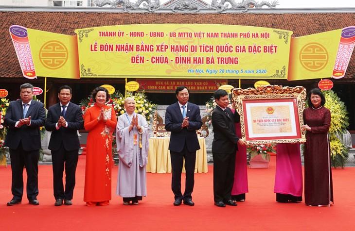 Urkunde zur Anerkennung des Hai-Ba-Trung-Tempels als nationale besondere Gedenkstätte - ảnh 1