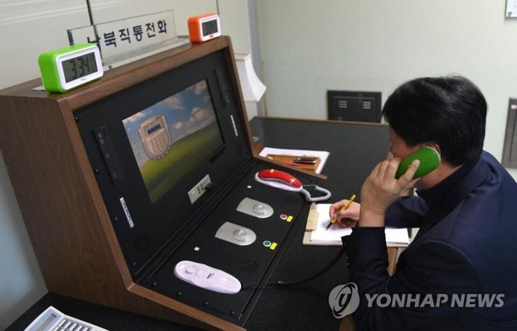 Süd- und Nordkorea nehmen die grenzüberschreitende Hotline wieder auf - ảnh 1