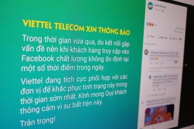 비엣텔, VNPT; 불안정한 페이스북 접속 불안정 관련 통지 - ảnh 1