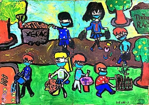 '다채로운 축제' 그림 그리기 대회: 코로나19 방역에 대한 어린이 감흥 조성 - ảnh 1