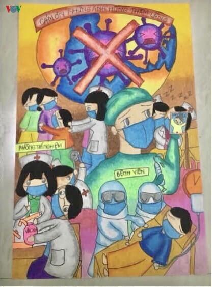 코로나19 방역을 위한 껀터시 학생의 그림들 - ảnh 11
