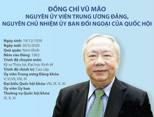 Acara pemakaman mantan Kepala Kantor MN Vu Mao diadakan menurut protokol tingkat tinggi - ảnh 1