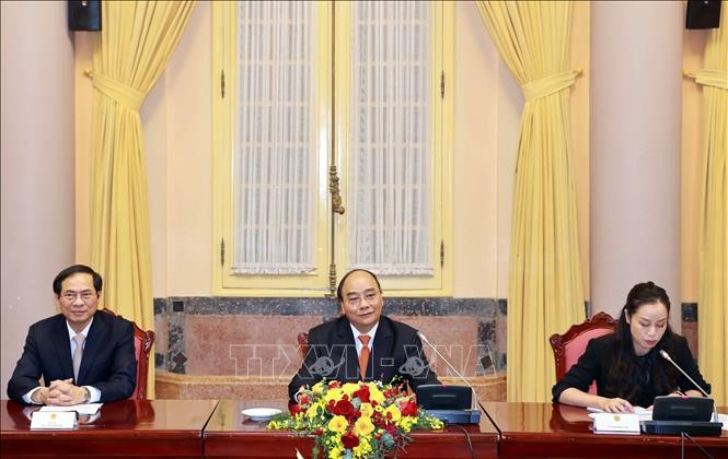 Presiden Nguyen Xuan Phuc Terima Pada Dubes dan Kuasa Usaha Sementara Negara-Negara ASEAN di Ha Noi - ảnh 1