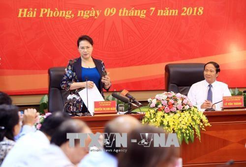 越南国会主席阮氏金银视察海防市 - ảnh 1