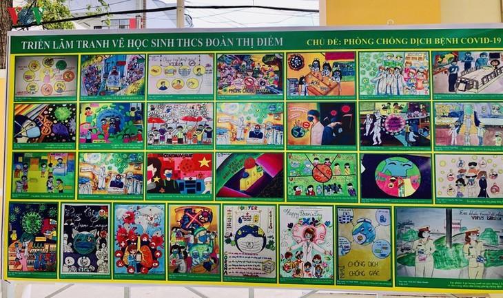 芹苴市儿童及其关于新冠肺炎疫情的绘画作品 - ảnh 1