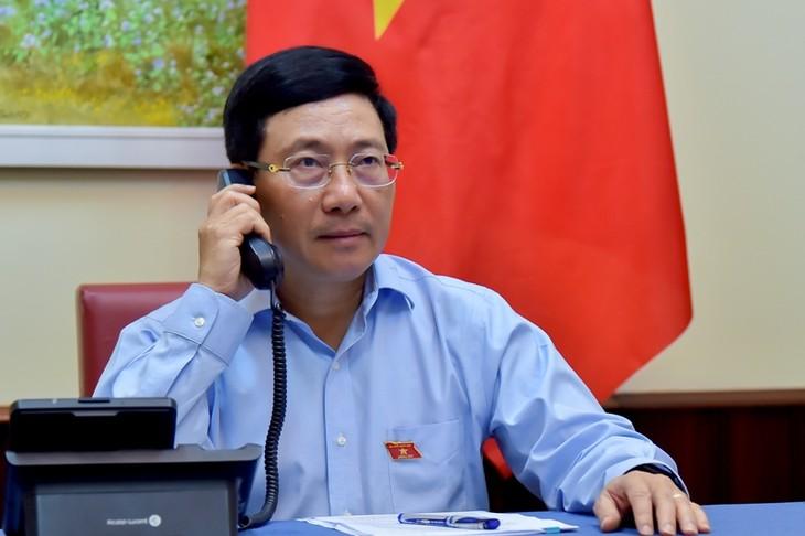 越南政府副总理兼外长范平明与埃及外交部长通电话 - ảnh 1