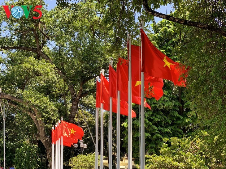 风中飘扬的鲜红国旗迎接独立日 - ảnh 11