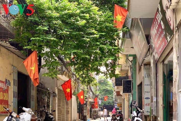 风中飘扬的鲜红国旗迎接独立日 - ảnh 17