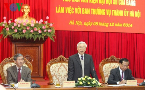 Party leader Nguyen Phu Trong meets with Hanoi Party Committee - ảnh 1