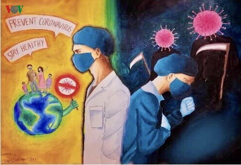 Can Tho students' paintings encourage people to fight COVID-19 - ảnh 10