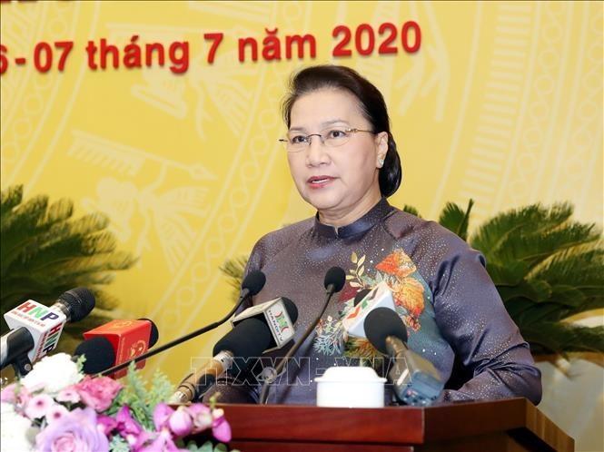 Ketua MN Nguyen Thi Kim Ngan menghadiri pembukaan sidang Dewan Rakyat Kota Ha Noi - ảnh 1