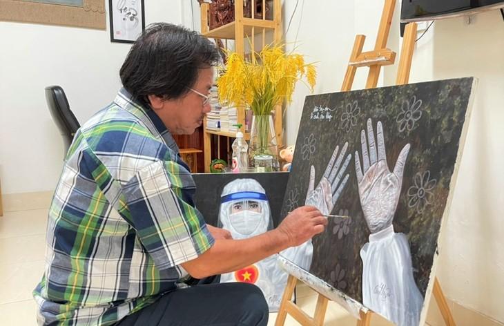 Artistas del delta del río Mekong sumados a la lucha contra el covid-19 - ảnh 1
