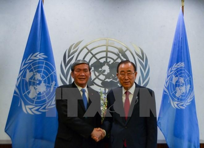 Anggota Harian Sekretariat KS PKV Dinh The Huynh bertemu dengan Sekjen PBB, Ban Ki-moon - ảnh 1