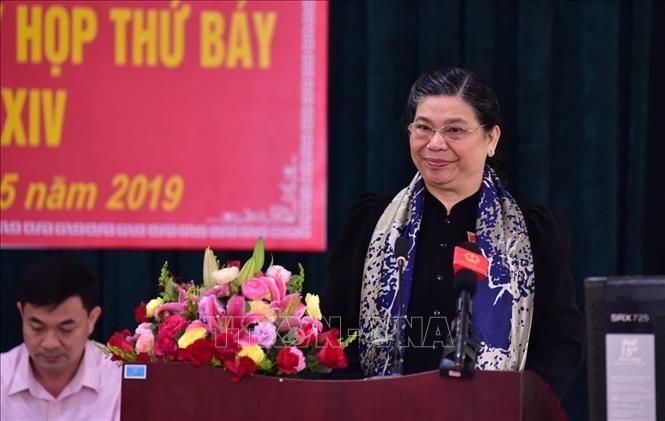Wakil Harian Ketua MN Viet Nam, Tong Thi Phong mengadakan  kontak dengan para pemilih di  Provinsi Son La - ảnh 1