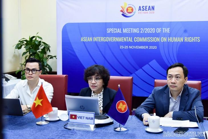 Vietnam berkoordinasi dengan negara-negara lain untuk mendorong  kegiatan kerjasama  HAM dari AICHR - ảnh 1