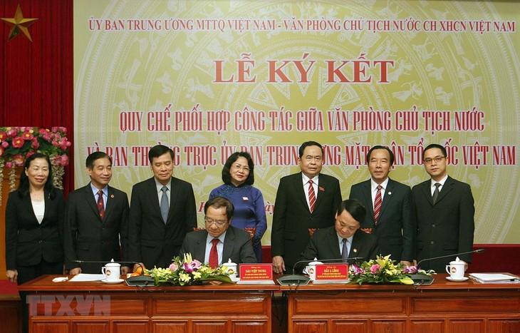 Signature d'une convention de coopération entre le FPV et le Bureau présidentiel - ảnh 1