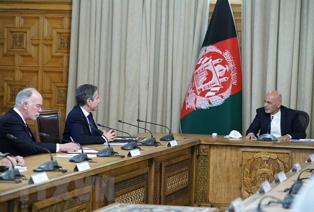 米国務長官がアフガン訪問、ガニ大統領に支援継続を約束 - ảnh 1