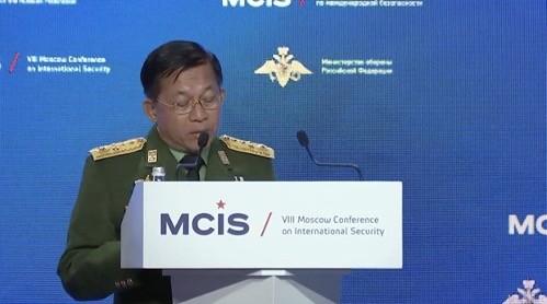 ミャンマー軍トップ  モスクワの国際安保会議に出発  - ảnh 1