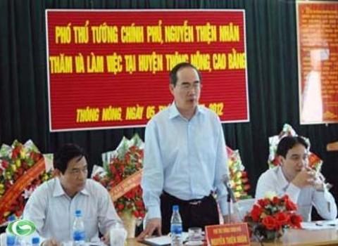 阮善仁与高平省领导人举行工作会议 - ảnh 1