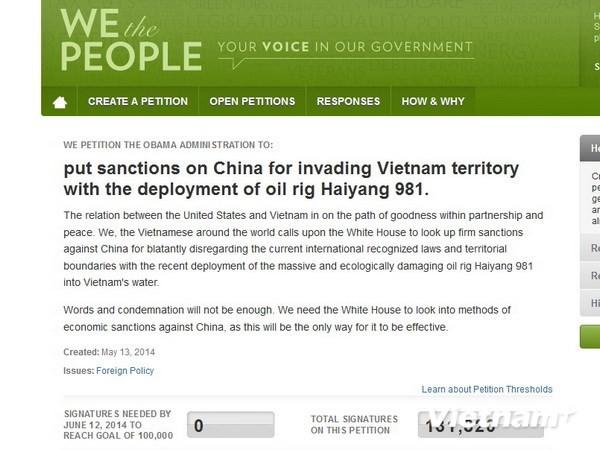 13万人在呼吁美国制裁中国请愿书上签名 - ảnh 1