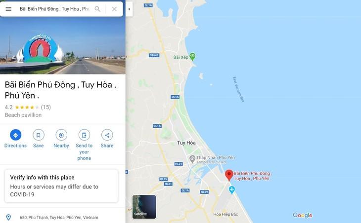 谷歌地图纠正关于越南富安省绥和市海滩的错误注释 - ảnh 1