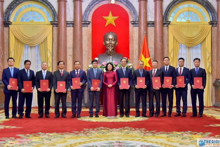 越南国家副主席邓氏玉盛向十二位驻外大使颁发任命书 - ảnh 1