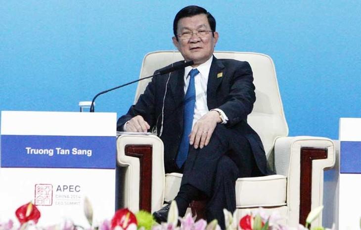 Presiden Truong Tan Sang mengakhiri secara baik kehadirannya pada Konferensi Tingkat Tinggi ke-22 APEC di Tiongkok - ảnh 1