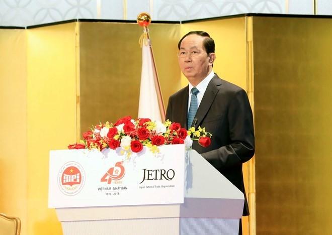 Tran Dai Quang trifft den Präsidenten der Union der Japan-Vietnam-Abgeordneten - ảnh 1