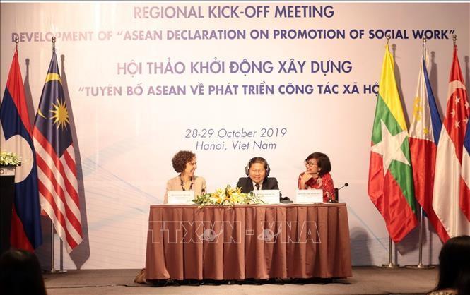 """Treffen zum Start der Erarbeitung der """"ASEAN-Erklärung über Förderung der Sozialarbeit"""" - ảnh 1"""
