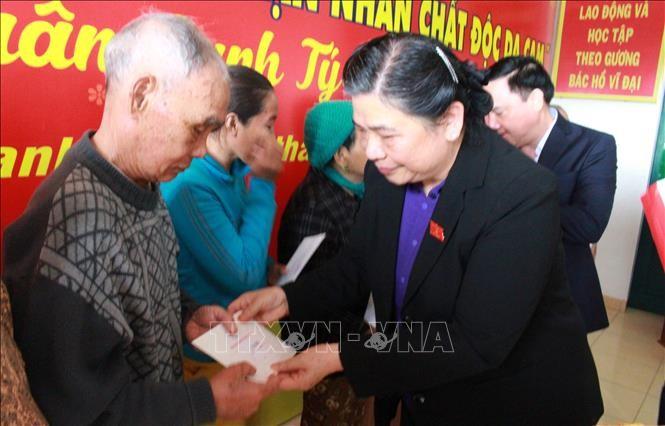 Vizeparlamentspräsidentin Tong Thi Phong besucht Familien der verdienstvollen Menschen - ảnh 1