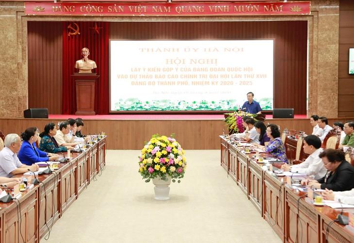 Hanoi sammelt Meinungen der Fraktion zum Berichtsentwurf der 17. Parteikonferenz der Stadt - ảnh 1