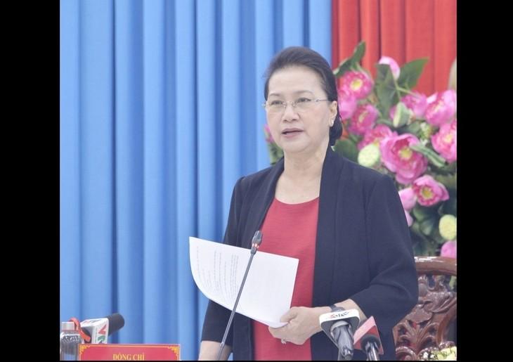 Parlamentspräsidentin Nguyen Thi Kim Ngan tagt mit dem Verwaltungsstab für Wahlen in An Giang - ảnh 1