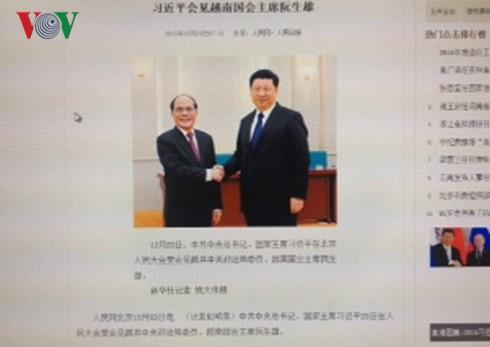 Pers Tiongkok memberitakan secara menonjol kunjungan Ketua MN Vietnam, Nguyen Sinh Hung di Tiongkok - ảnh 1