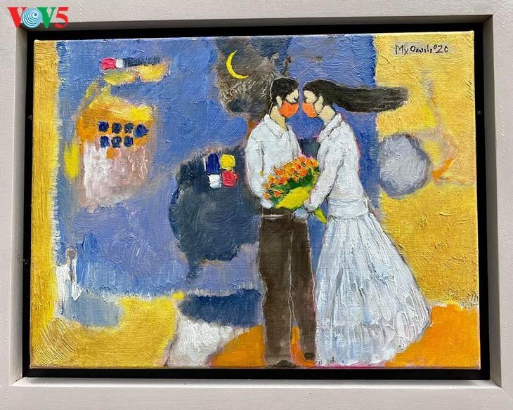 Pameran lukisan pelukis kontemporer Vietnam dalam musim isolasi - ảnh 17