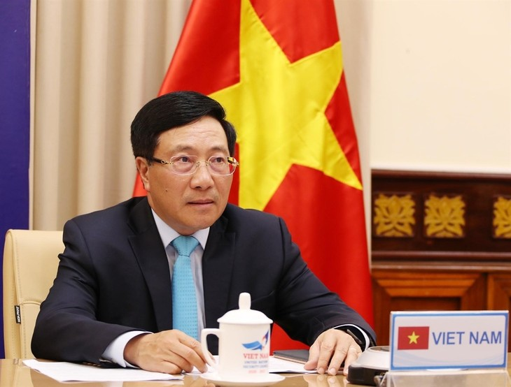 Deputi PM, Menlu Vietnam, Pham Binh Minh menghadiri sesi pembahasan tingkat tinggi virtual DK PBB - ảnh 1