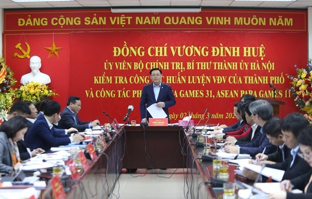 Hanoi leader inspects works for SEA Games 31, ASEAN Para Games 11 - ảnh 1