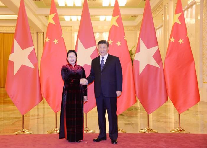 Председатель Нацсобрания Вьетнама встретилась с генсеком ЦК КПК, председателем КНР  - ảnh 1