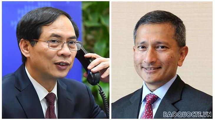 Главы МИД Вьетнама и Сингапура провели телефонный разговор - ảnh 1