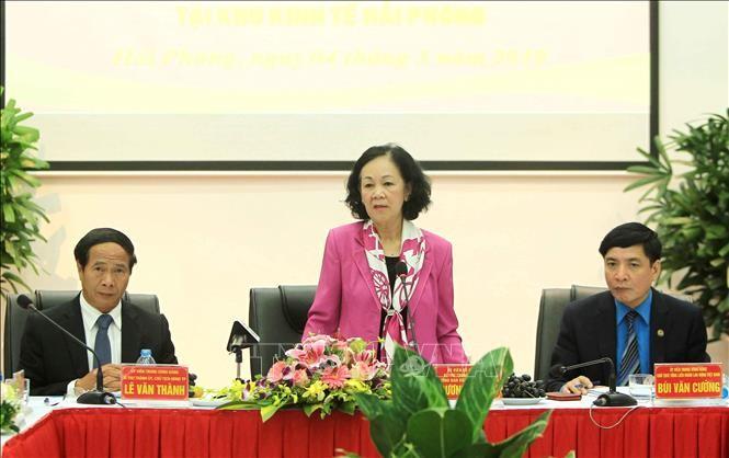 Trưởng ban Dân vận Trung ương Trương Thị Mai làm việc tại Khu Kinh tế Hải Phòng - ảnh 1